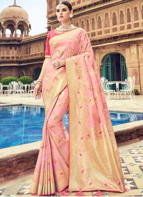 Rose Pink Party Silk Traditional Saree