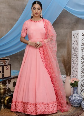 Rose Pink Silk Sangeet Trendy Gown
