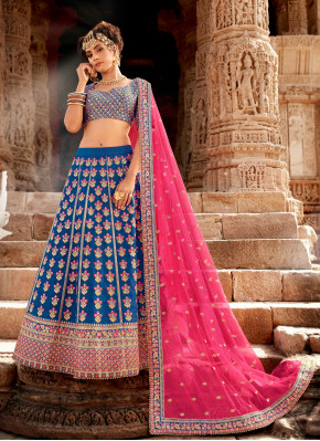 Royal Blue Embroidered Silk & Net Trendy Designer