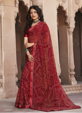 Royal Faux Georgette Maroon Abstract Print Saree