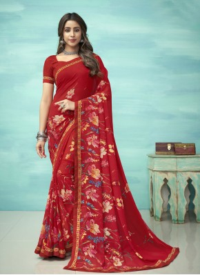 Royal Red Floral Print Faux Georgette Casual Saree