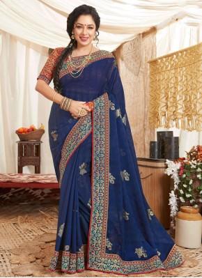 Rupali Ganguly Blissful Blue Classic Saree