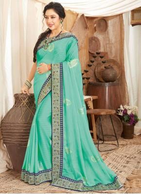 Rupali Ganguly Glossy Aqua Blue Classic Designer Saree