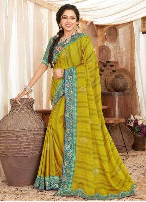 Rupali Ganguly Green Fancy Fabric Classic Designer Saree