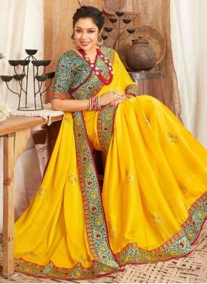 Rupali Ganguly Patch Border Designer Saree