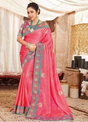 Rupali Ganguly Pink Patch Border Classic Saree