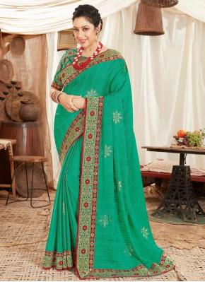 Rupali Ganguly Sea Green Fancy Fabric Patch Border Designer Saree