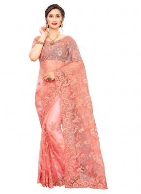 Ruritanian Embroidered Peach Classic Designer Saree