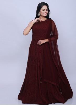 Ruritanian Maroon Reception Designer Floor Length Salwar Suit