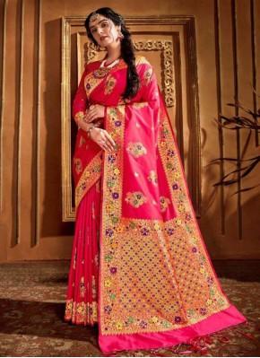Ruritanian Pink Weaving Silk Classic Saree