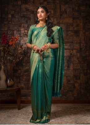 Ruritanian Raw Silk Teal Traditional Designer Saree