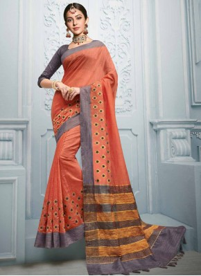 Rust Embroidered Cotton Casual Saree