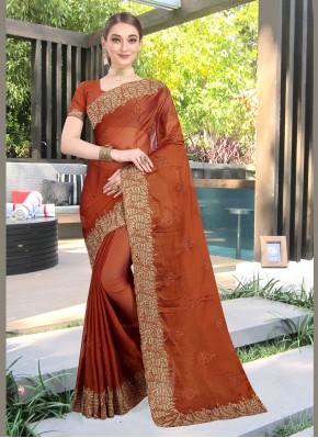 Rust Faux Chiffon Patch Border Designer Traditional Saree