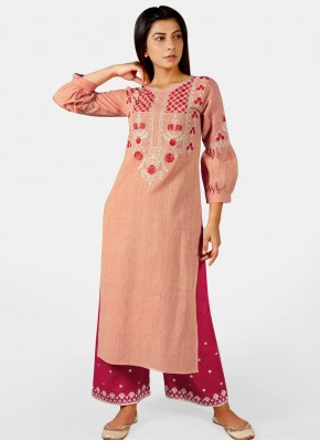 Salmon Embroidered Festival Party Wear Kurti