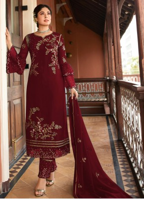 Salwar Suit Embroidered Georgette in Maroon