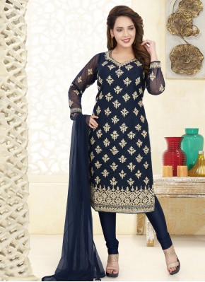 Salwar Suit Embroidered Net in Blue