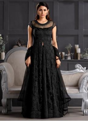 Salwar Suit Resham Net in Black