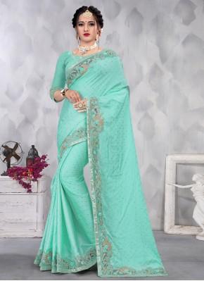 Satin Aqua Blue Designer Saree