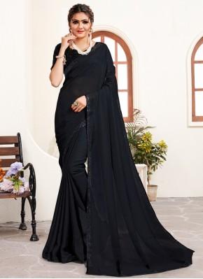 Satin Black Stone Work Trendy Saree