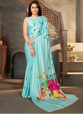 Satin Blue Print Casual Saree