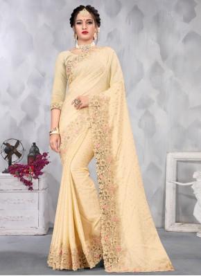 Satin Cream Designer Saree