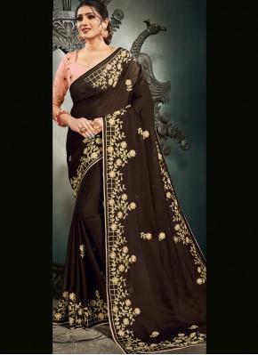 Satin Designer Saree in Brown