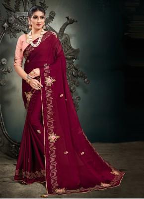 Satin Designer Saree in Magenta