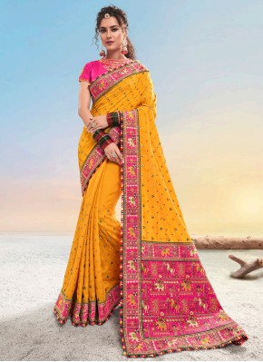 Satin Designer Saree in Orange
