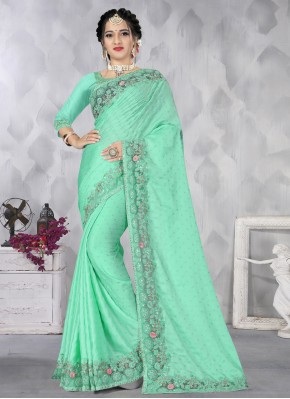Satin Designer Saree in Sea Green