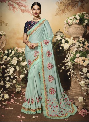 Satin Embroidered Blue Contemporary Saree