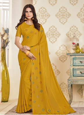Satin Embroidered Classic Saree in Mustard