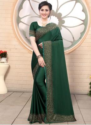Satin Green Fancy Trendy Saree