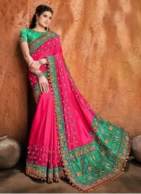 Satin Mirror Hot Pink Designer Traditional Saree