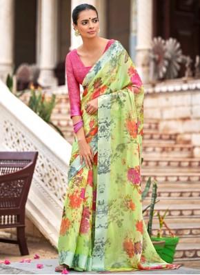Satin Multi Colour Abstract Print Traditional Saree