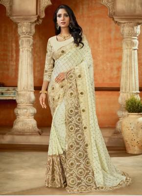 Satin Off White Embroidered Trendy Saree