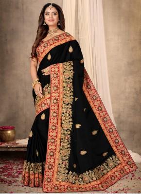Satin Patch Border Designer Saree in Black