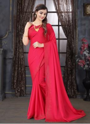 Satin Pink Classic Designer Saree