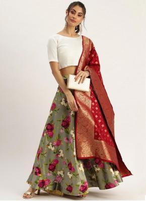 Satin Printed Grey Designer Lehenga Choli