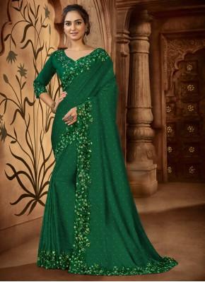 Satin Resham Green Designer Saree