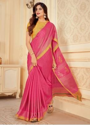 Satin Silk Bollywood Saree in Pink