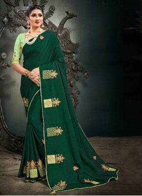 Satin Silk Green Designer Saree