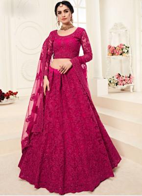 Satin Silk Hot Pink Embroidered Designer A Line Lehenga Choli