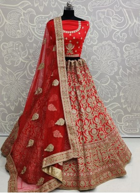 Satin Silk Lehenga Choli in Red