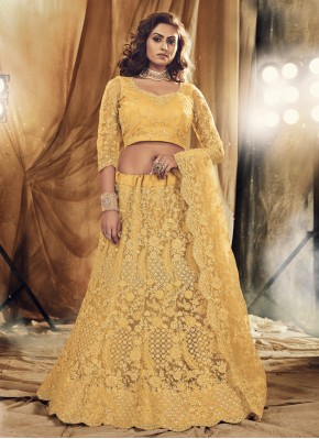 Satin Silk Lehenga Choli in Yellow