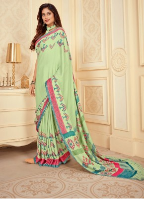 Satin Silk Printed Green Contemporary Saree