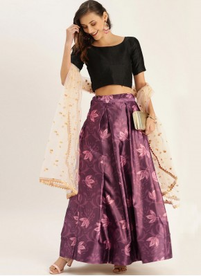 Satin Silk Printed Purple Bollywood Lehenga Choli