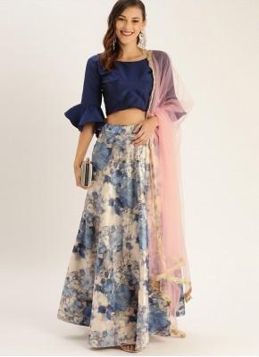 Satin Silk Printed Trendy Lehenga Choli in Multi Colour