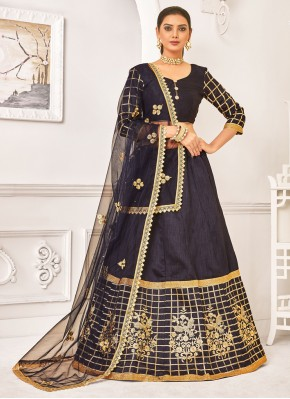Satin Silk Resham Designer Lehenga Choli in Navy Blue