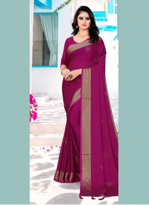 Satin Silk Swarovski Pink Contemporary Saree