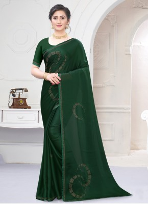 Satin Traditional Saree in Green